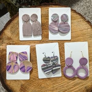 🔴5 Pairs! 1 Price! 💜 Polymer Clay Earrings